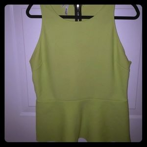 Lime green peplum backless shirt